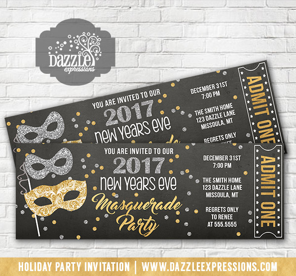 Masquerade New Years Party Ticket Invitation 1