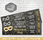 Masquerade New Years Party Ticket Invitation - Printable