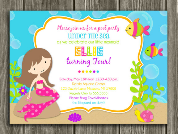 Printable Mermaid Birthday Invitation - Girl Birthday Party - Under ...: www.dazzleexpressions.com/item_199/Mermaid-Birthday-Invitation...