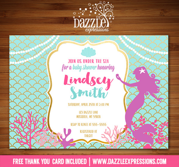 Mermaid Baby Shower Invitation   FREE Thank You Card Included