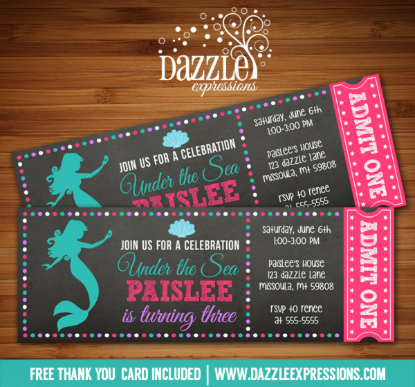 Mermaid Chalkboard Ticket Invitation - FREE thank you card included