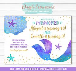 Mermaid Birthday Invitation 6 - FREE thank you card included