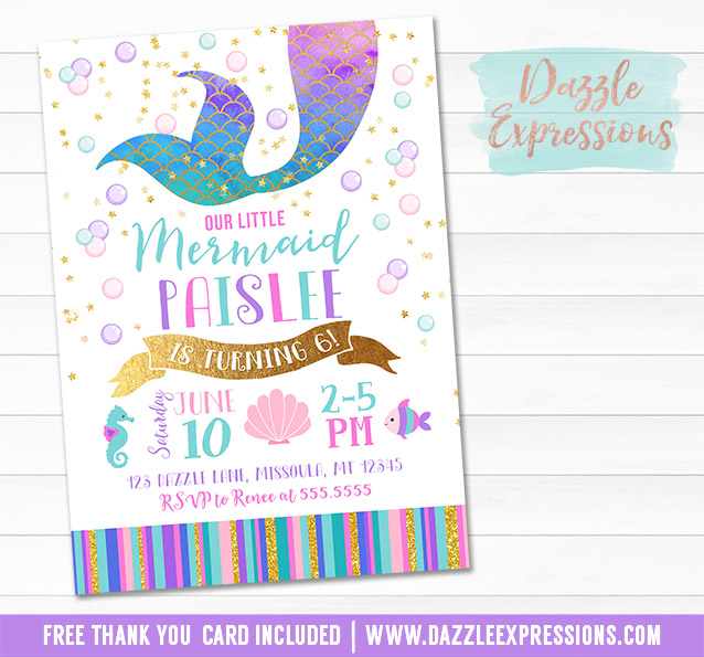 Mermaid Birthday Invitation 7