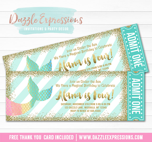 Mermaid Glitter Ticket invitation 2- FREE thank you card included