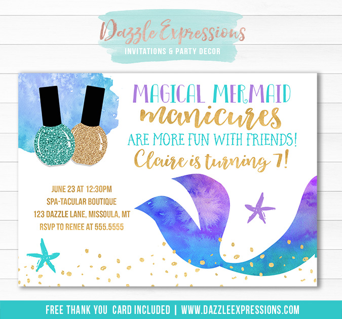 Mermaid Manicures Birthday Invitation - FREE thank you ca