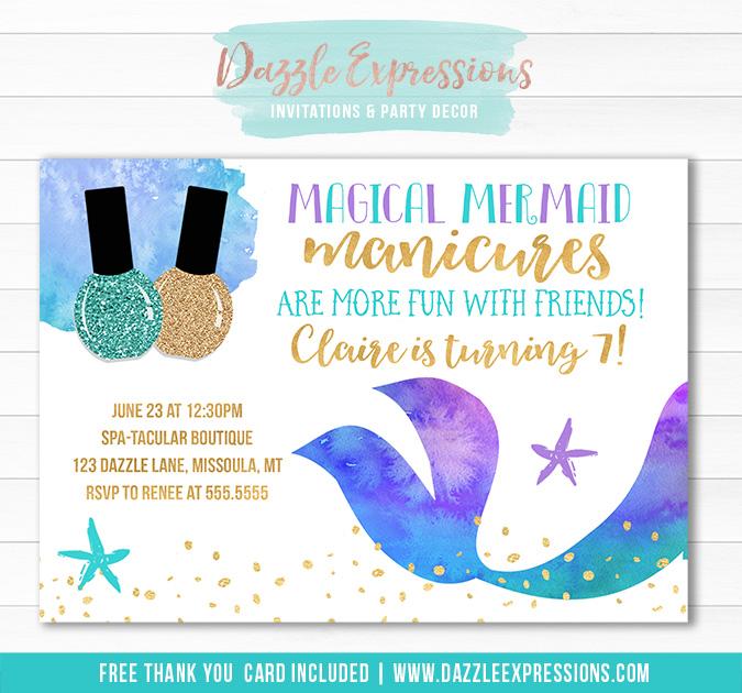 Mermaid Manicures Birthday Invitation - FREE thank you ca