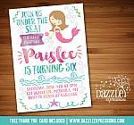 Mermaid Birthday Invitation 5 - FREE thank you card included
