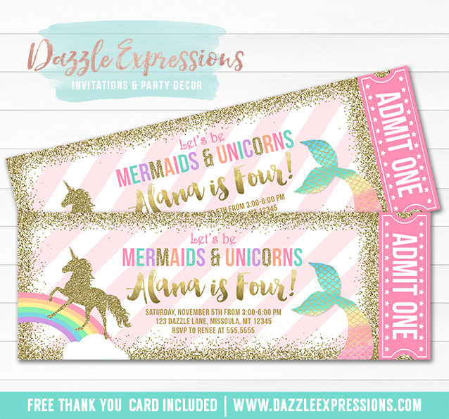 picture relating to Printable Mermaid Invitations referred to as Printable Mermaid and Unicorn Ticket Invites - Magical Rainbow and Gold Glitter Social gathering - Ladies 1st Birthday
