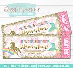 Mermaid and Unicorn Glitter Ticket Invitation 1 - FREE thank you card included