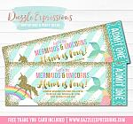 Mermaid and Unicorn Glitter Ticket Invitation 2 - FREE thank you card included
