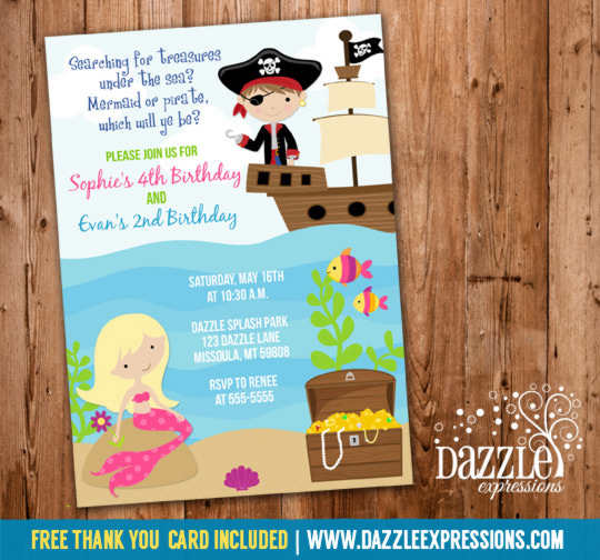 Mermaid and Pirate Birthday Invitation - FREE thank you card included