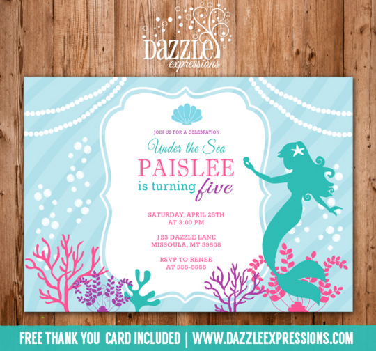 Mermaid Birthday Invitation 3 - FREE thank you card
