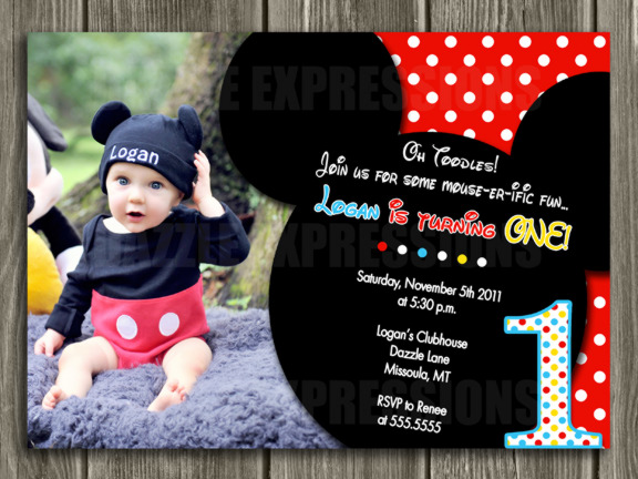Mickey Mouse Inspired Birthday Invitation 1 - Thank You Card Included