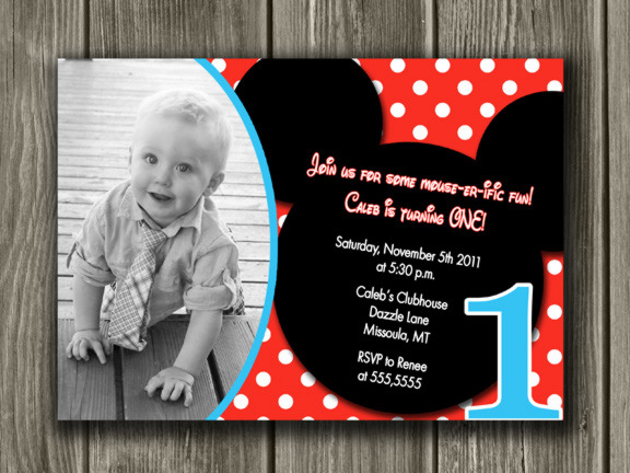 Mickey Mouse Inspired Birthday Invitation 2 - Thank You Card Included