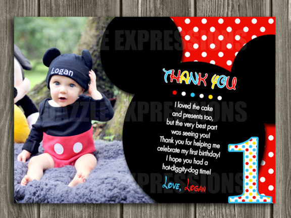 Mickey Mouse Inspired Thank You Card 1