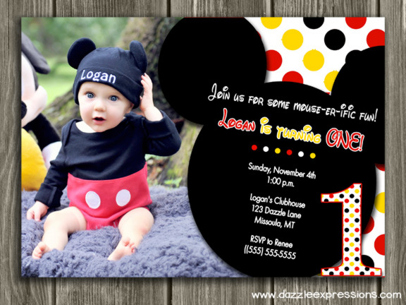 Printable Mickey Mouse Birthday Invitation Kids First Birthday – First Birthday Thank You Cards