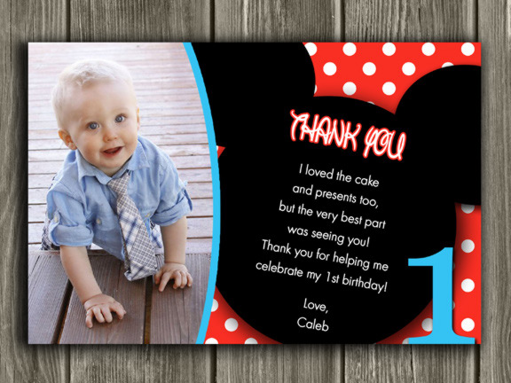 Printable Mickey Mouse Photo Thank You Card Birthday Party – First Birthday Thank You Cards