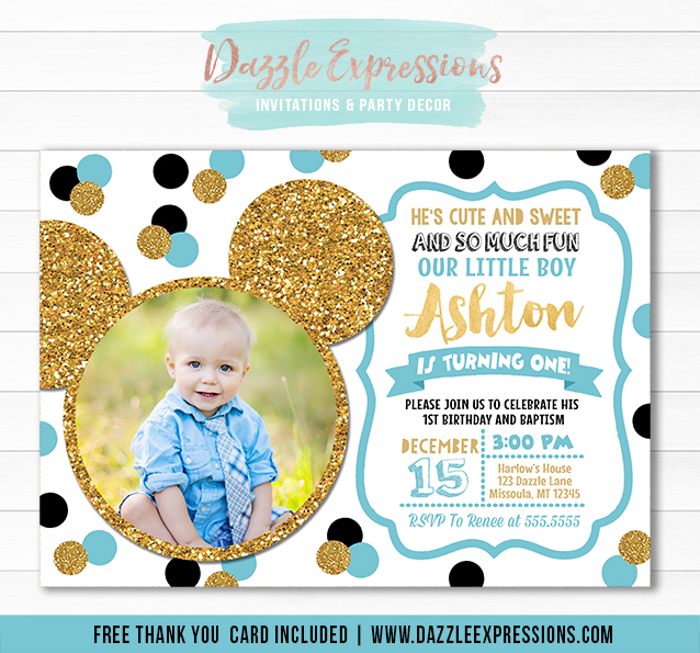 Mickey Mouse Inspired Birthday Invitation 4