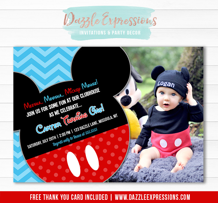 Printable Mickey Mouse Inspired Birthday Invitation Clubhouse