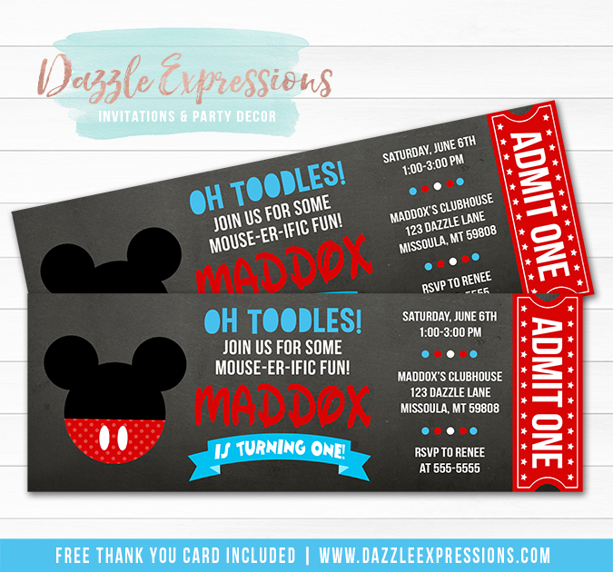 Mickey Mouse Inspired Chalkboard Invitation - FREE Thank You Card Included