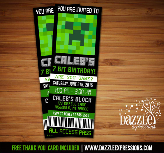 minecraft inspired ticket birthday invitation free thank you card included