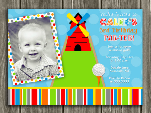Mini Golf Birthday Invitation - Thank You Card Included