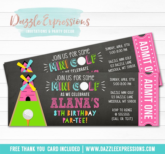 printable mini golf chalkboard ticket birthday invitation