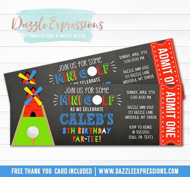 Mini Golf Chalkboard Ticket Invitation 2 - FREE thank you card