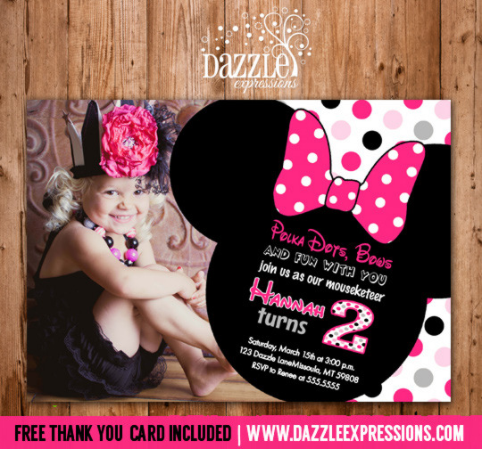Minnie Mouse Inspired Birthday Invitation 1 - FREE thank you card included
