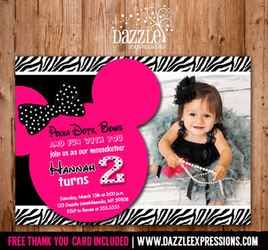 Printable Minnie Mouse Birthday Invitation Girls First or Second