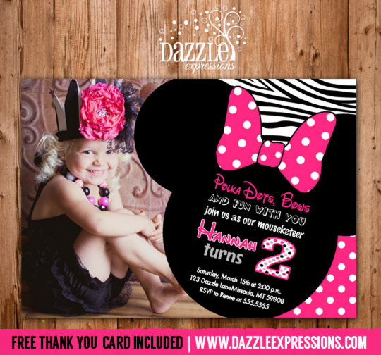 Minnie Mouse Inspired Birthday Invitation 2 - FREE thank you card included