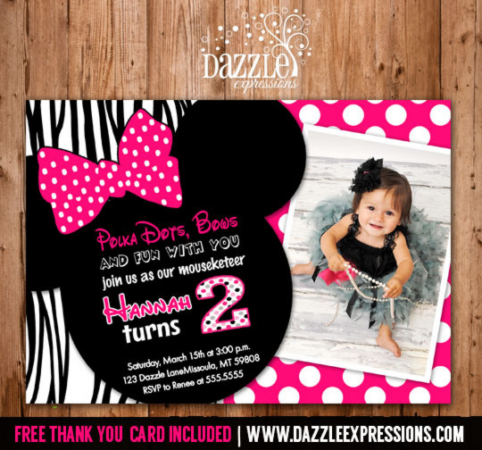 Minnie Mouse Inspired Birthday Invitation 3 - FREE thank you card included