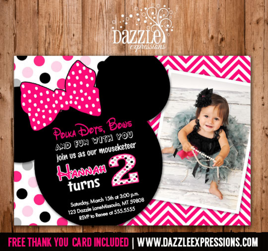 Minnie Mouse Inspired Birthday Invitation 4 - FREE thank you card included