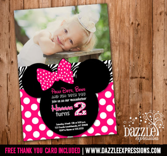 Minnie Mouse Inspired Birthday Invitation 6 - FREE thank you card included