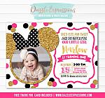 Minnie Mouse Inspired Birthday Invitation 12 - FREE thank you card included