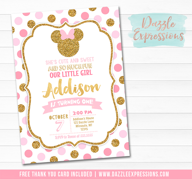 Minnie Mouse Inspired Birthday Invitation 5 - FREE thank you card included