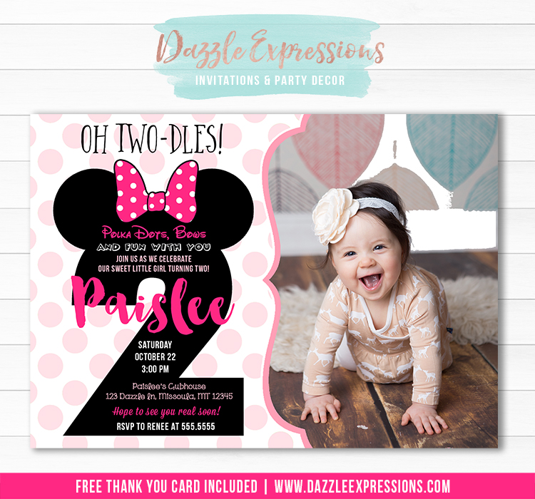 Minnie Mouse Inspired Birthday Invitation 9 - FREE thank you card included
