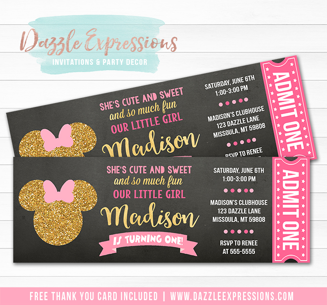 Minnie Mouse Inspired Chalkboard Ticket - FREE thank you card