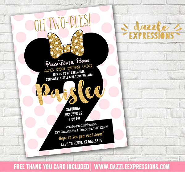 Printable Minnie Mouse 2nd Birthday Invitation