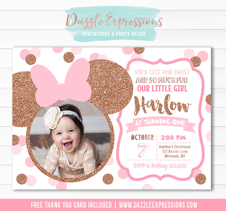 Minnie Mouse Inspired Birthday Invitation 13 - FREE thank you card