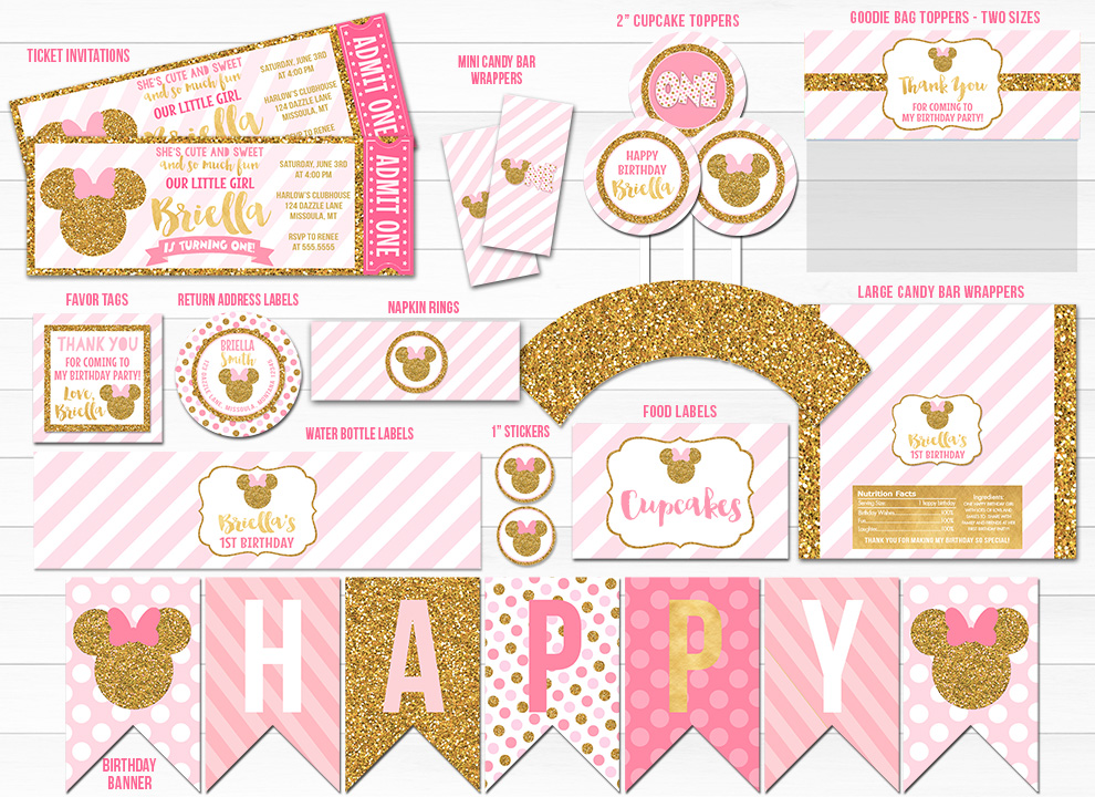 Printable Pink and Gold Glitter Minnie Mouse Inspired Birthday Party