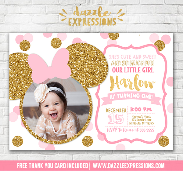 Printable pink and gold glitter minnie mouse inspired birthday minnie mouse inspired birthday invitation 7 free thank you card included filmwisefo