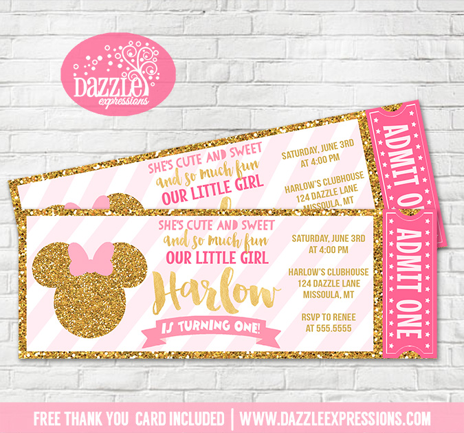 Printable Pink and Gold Minnie Mouse Inspired Ticket Birthday – Printable Ticket Invitations