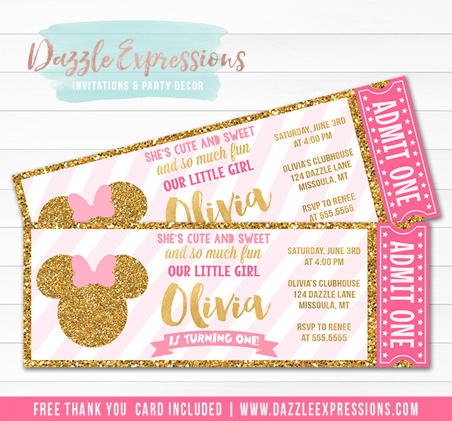 Minnie Mouse Inspired Pink and Gold Ticket Invitation - FREE thank you card