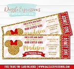 Minnie Mouse Inspired Red and Gold Ticket Invitation - FREE thank you card