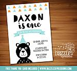 Modern Bear Birthday Invitation - FREE thank you card included