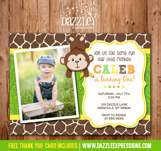 Monkey Birthday Invitation - FREE thank you card