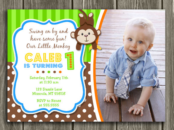 Printable boy monkey birthday photo invitation boy first birthday monkey birthday invitation 2 free thank you card filmwisefo Image collections
