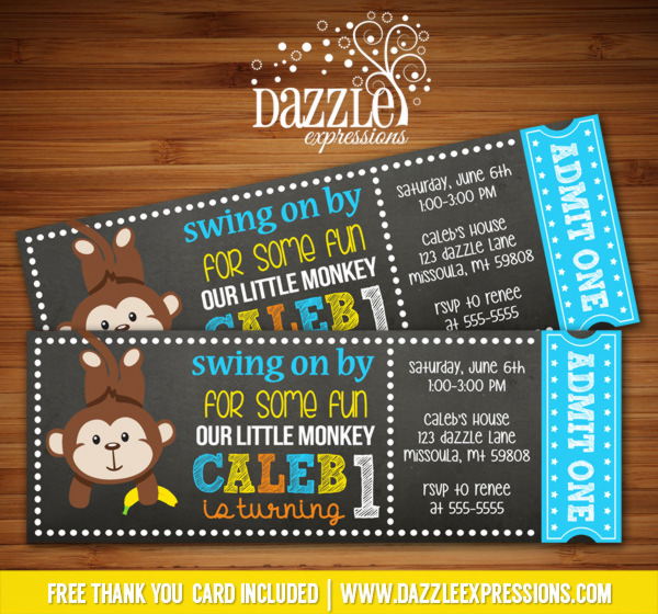Monkey Chalkboard Ticket Invitation - FREE thank you card included