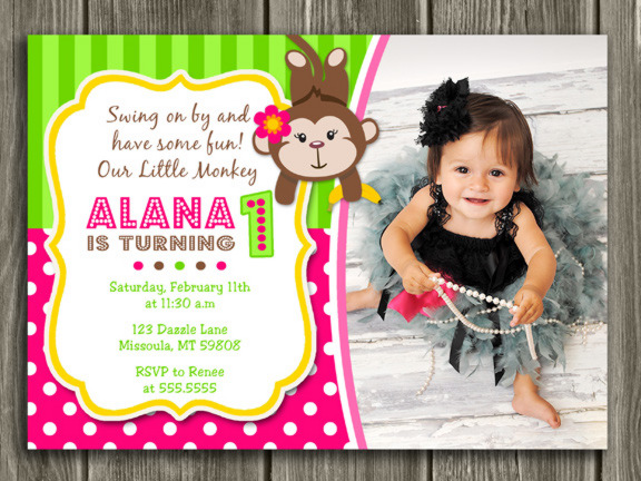 Printable girl monkey birthday photo invitation girl first monkey birthday invitation 3 free thank you card filmwisefo Image collections